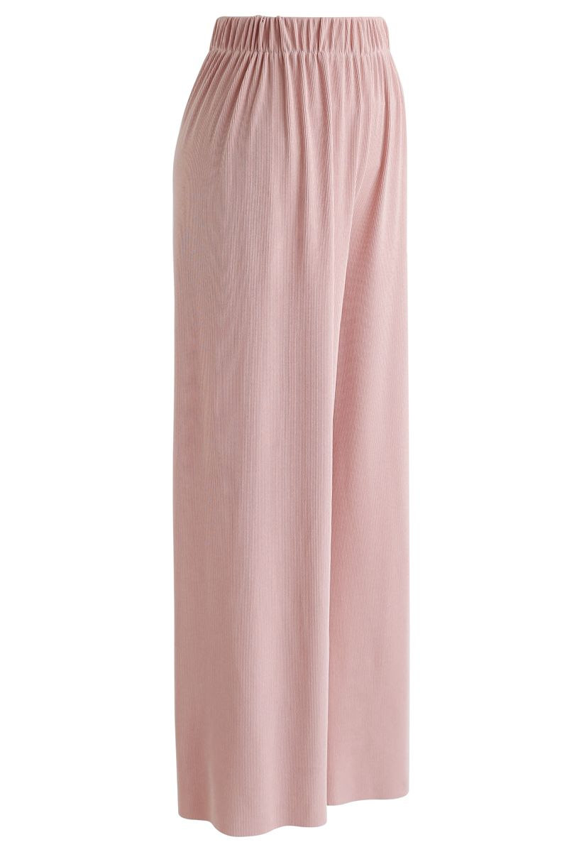 High-Waisted Ribbed Pants in Pink