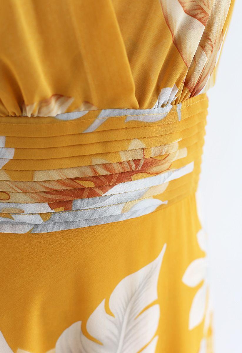 Mustard Tropical Leaf Pleated Sleeveless Chiffon Dress