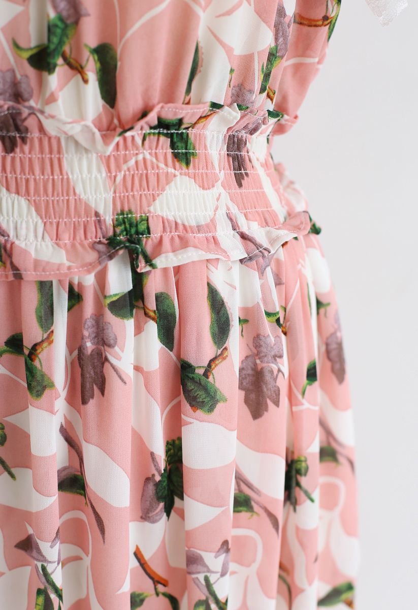 Lush Branches Frilling Chiffon Dress in Pink