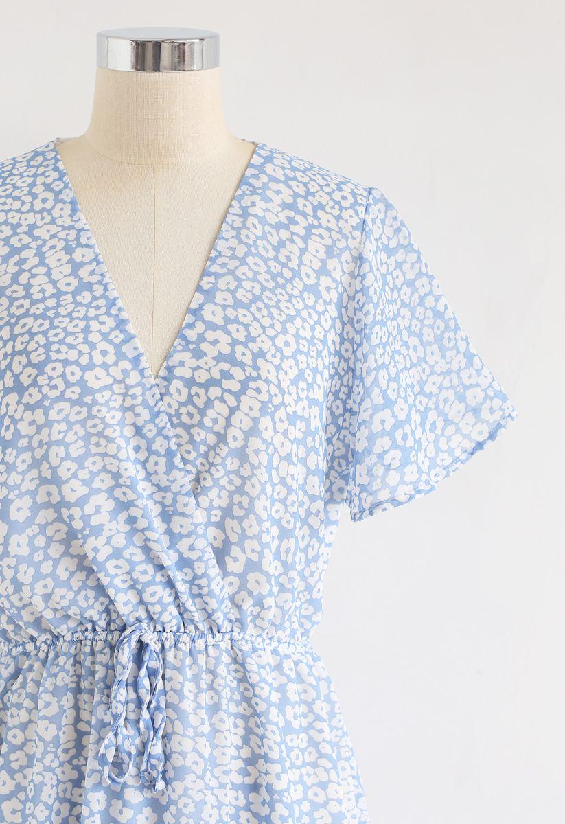 Enchanted Floret Ruffle Wrap Chiffon Dress