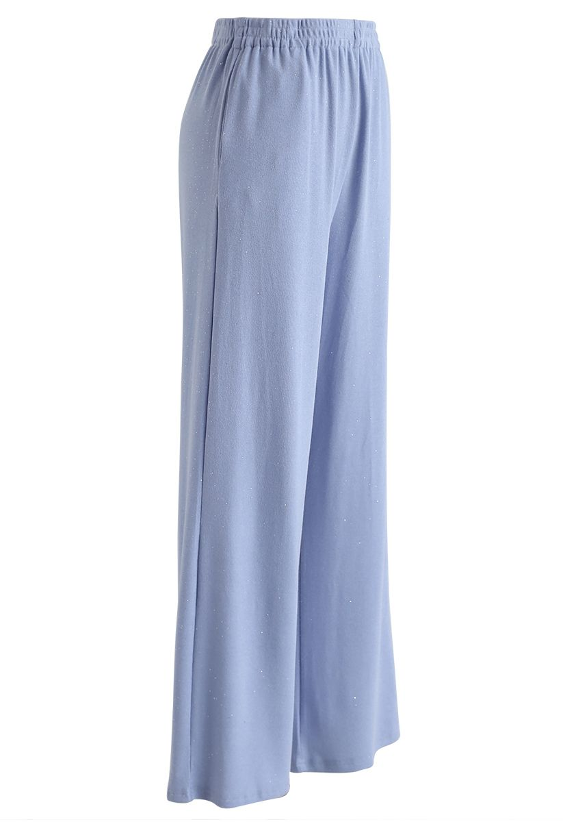 Sparkly Wide-Leg Full-Length Pants in Blue
