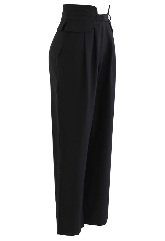 High-Waisted Tapered Pants in Black