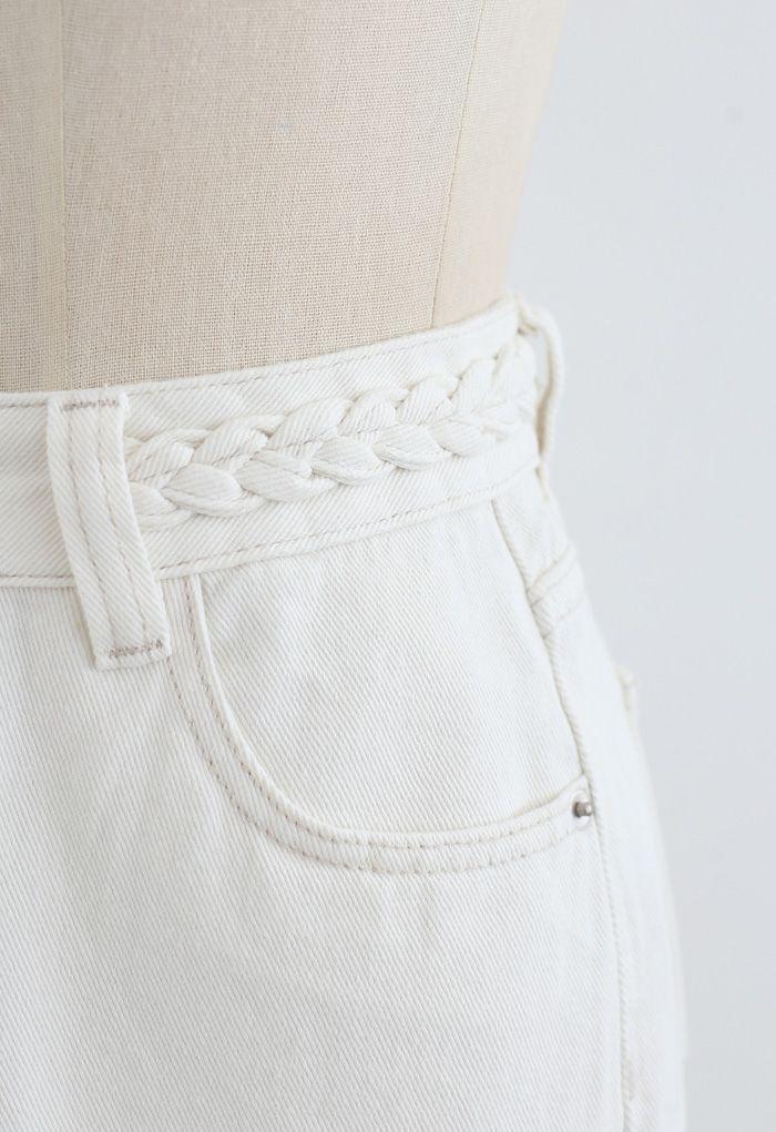 Braid Detail Straight-Leg Jeans in White