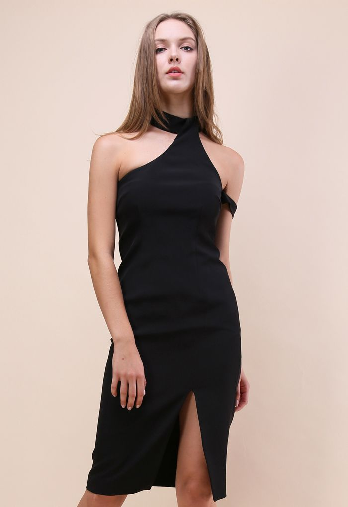 Extra Stylish Halter Neck Dress in Black