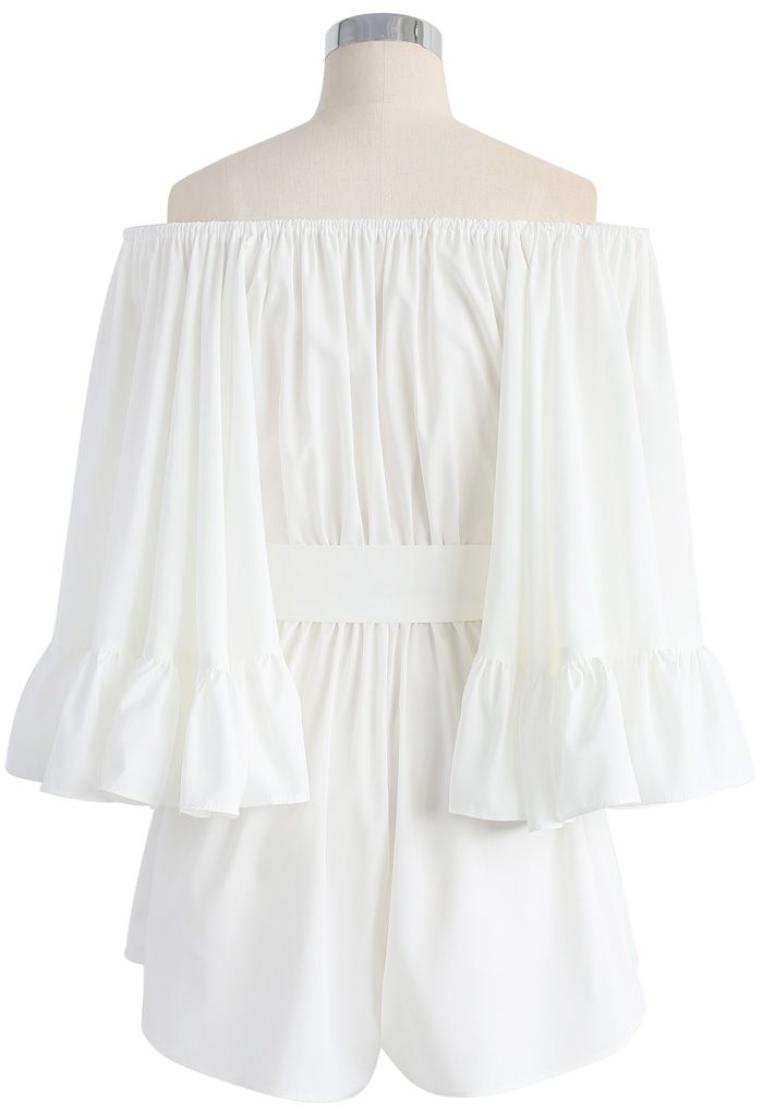For the Frill of it Off-shoulder Playsuit in Whit