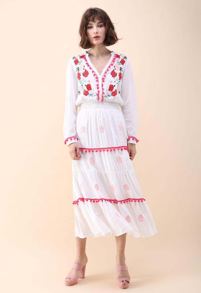 Stay Romance Embroidered Maxi Dress