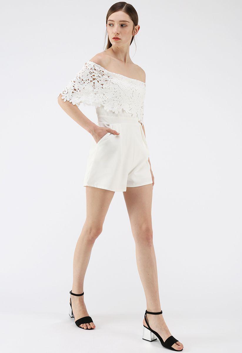 Summer Selected Off-Shoulder Playsuit in White