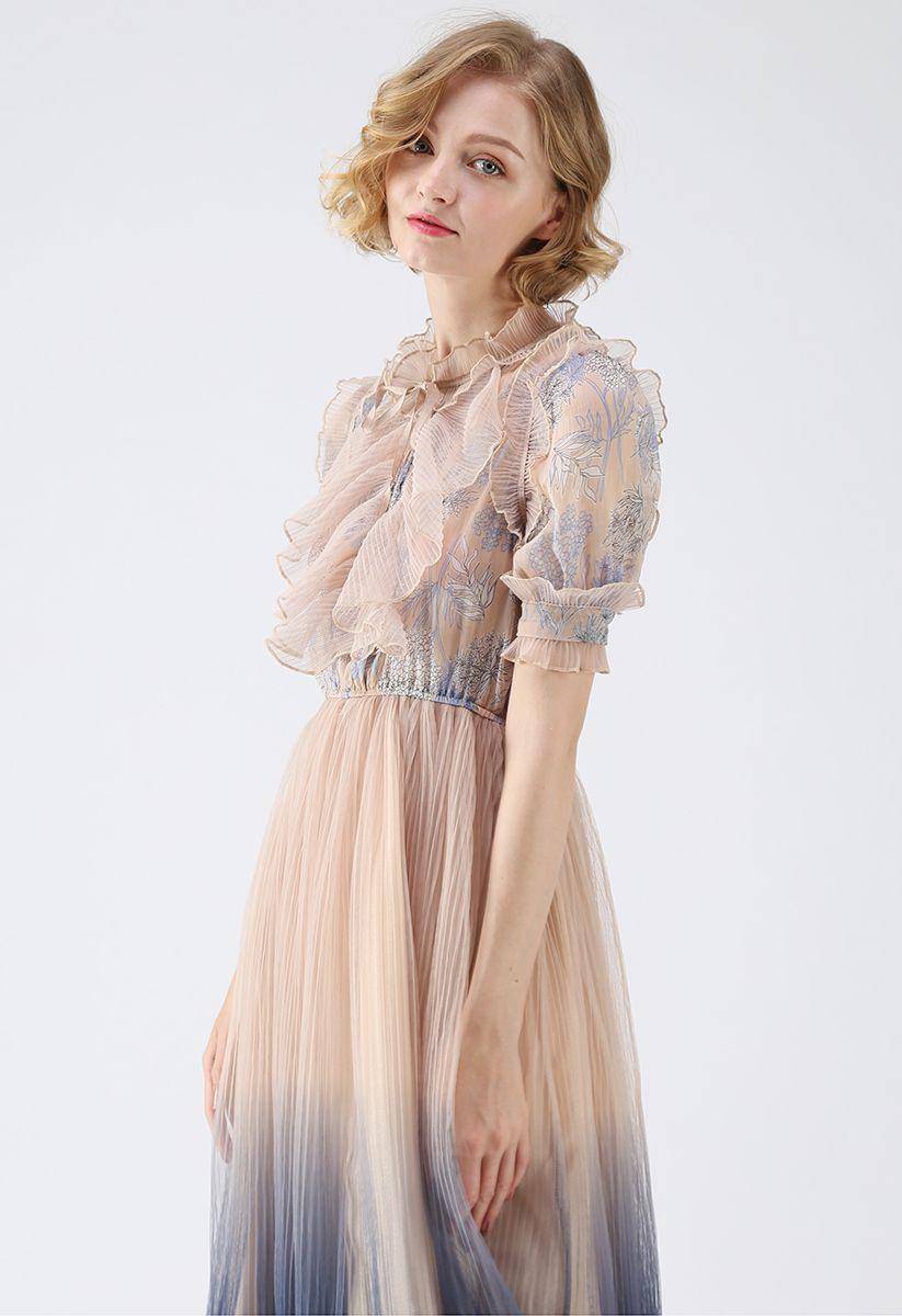 漸變網紗連身裙