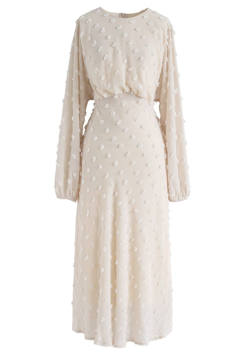 絨球裝飾薄紗長連衣裙--奶油白