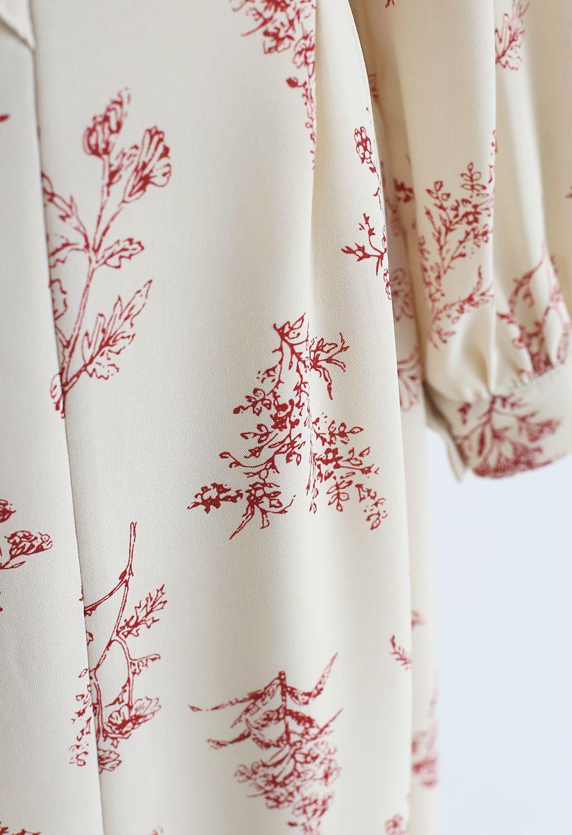 植物大量印花雪紡連衣裙
