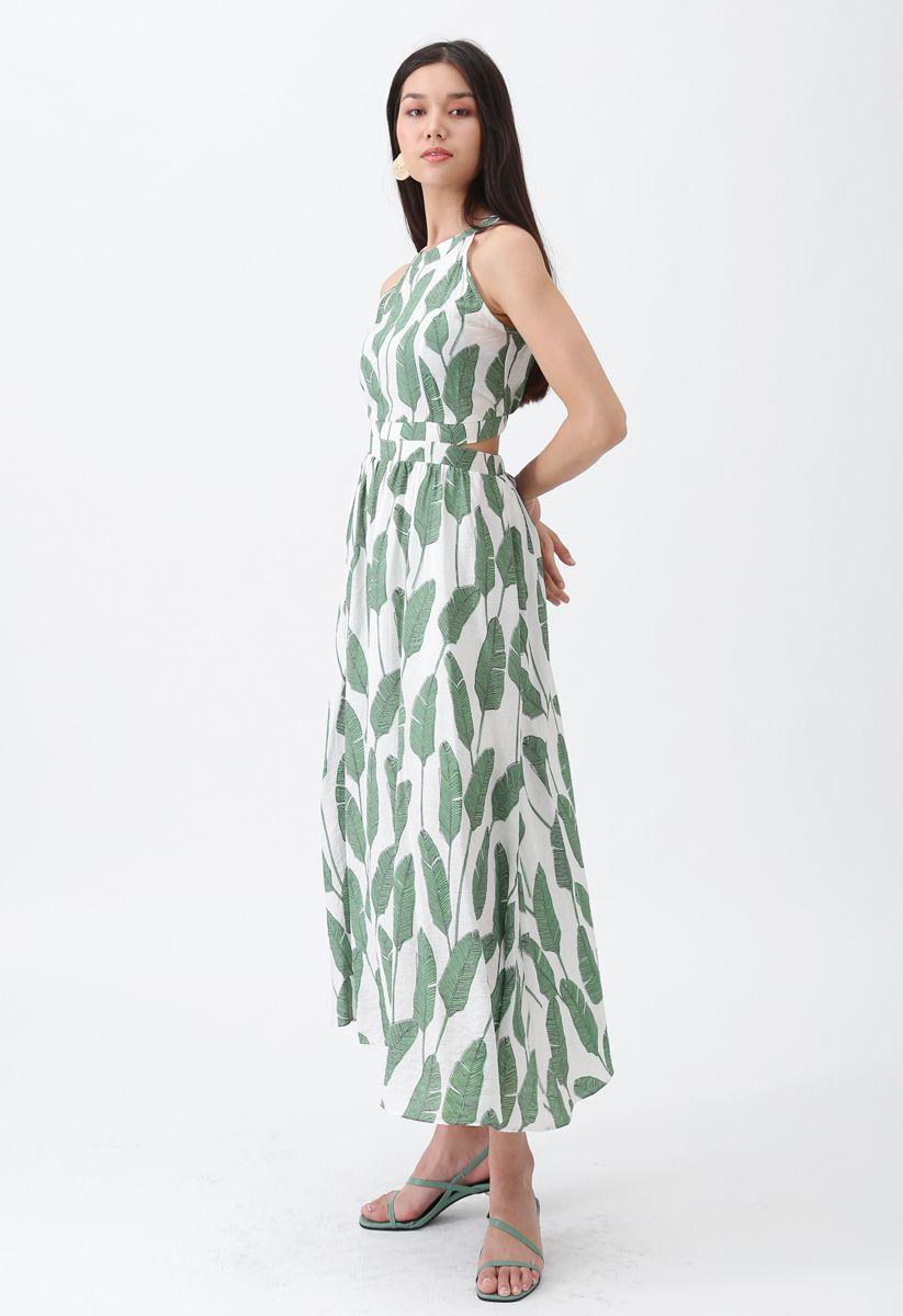 棕櫚葉露背領長連衣裙--綠色