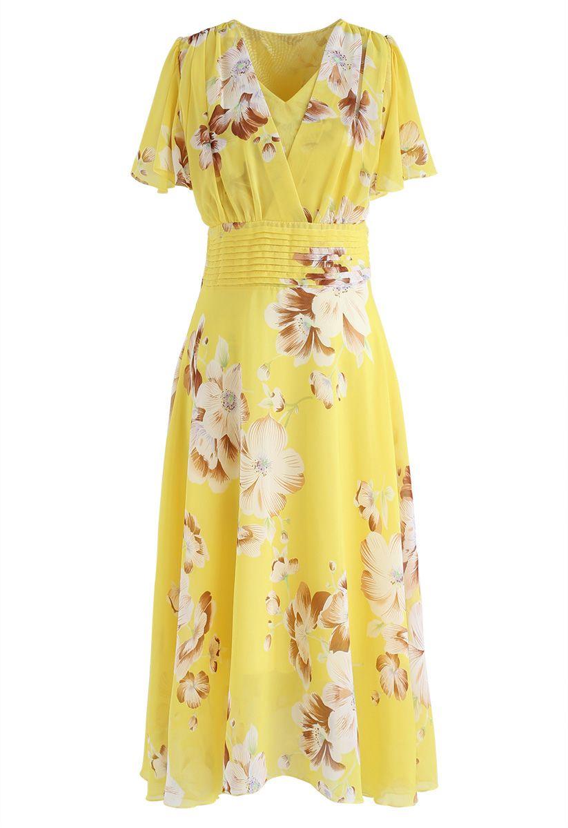 甜投降花卉雪紡連衣裙黃色