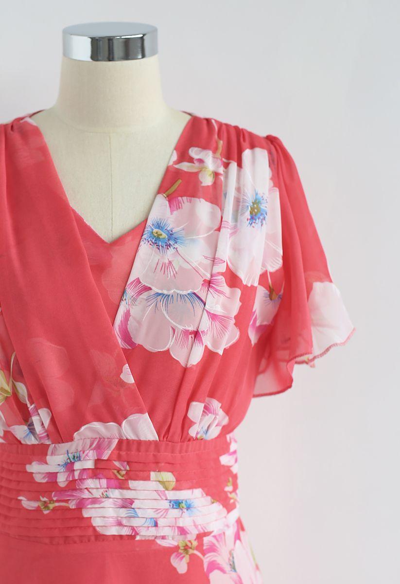 甜紅色的投降花卉雪紡連衣裙
