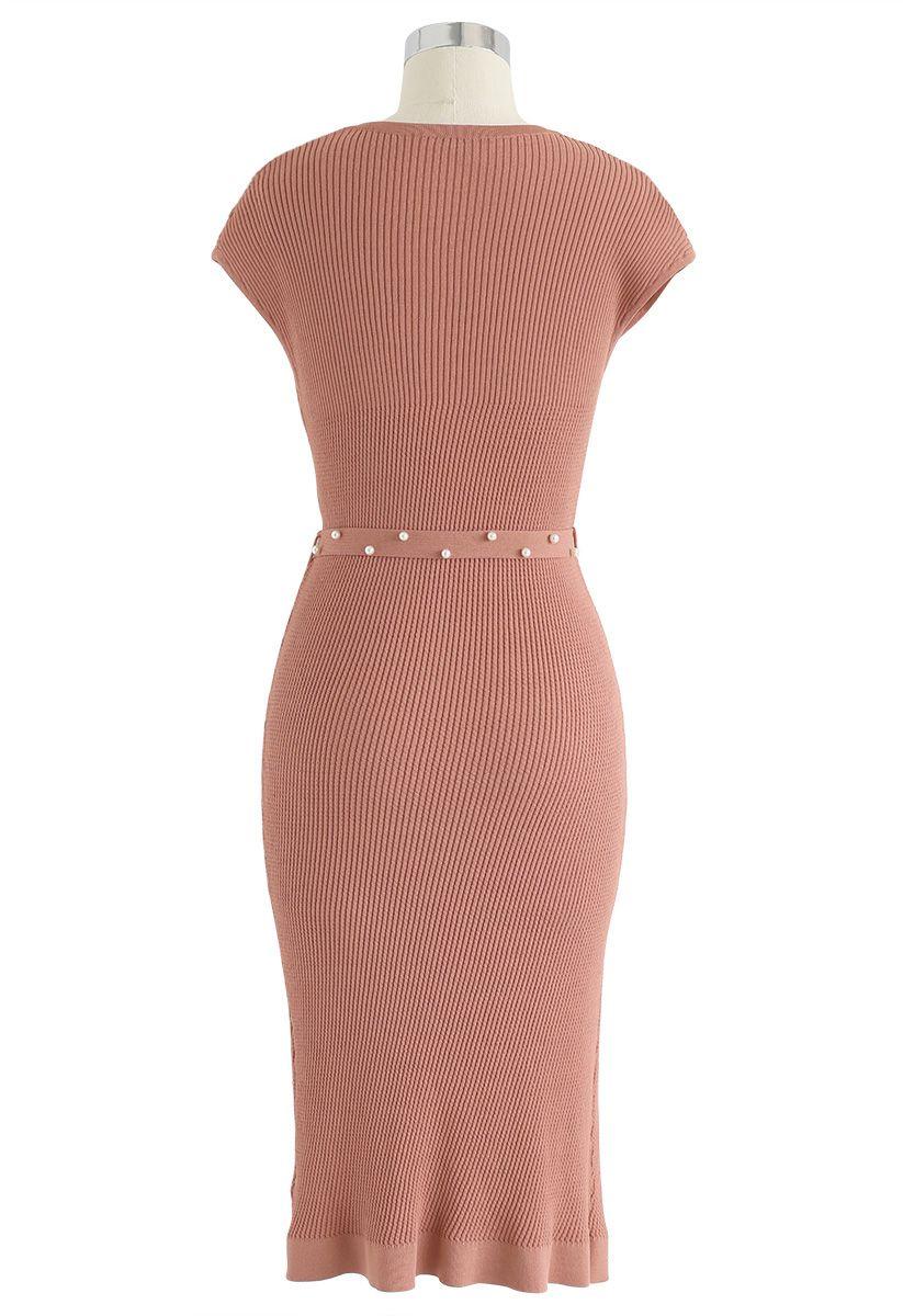 腰帶針織連衣裙--珊瑚色