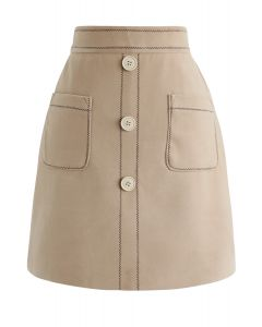 Contrasted Pockets Buttoned Mini Skirt in Tan