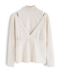 Fake Two-Piece Mock Neck Wrap Knit Top in Cream