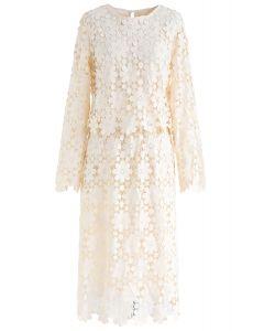 Full Sunflower Crochet Top and Skirt Set in Cream