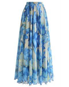 藍色楓葉圖案半身長裙