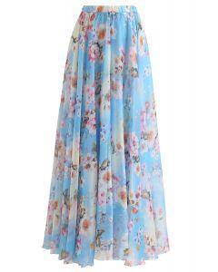 桃花圖案半身長裙