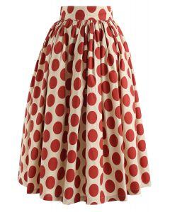 Vintage Red Polka Dot Midi Skirt
