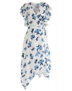 Dyeing Flower Pattern Ruffle Asymmetric Wrap Dress