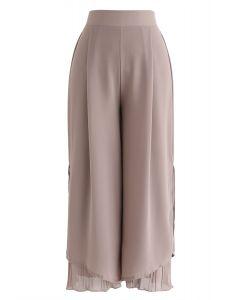 Split Pleated Hem Crop Chiffon Pants in Dusty Pink