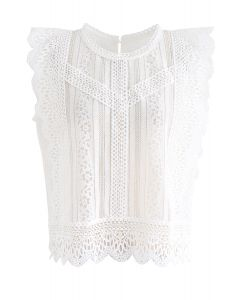 無袖鈎花蕾絲上衣 - 白色