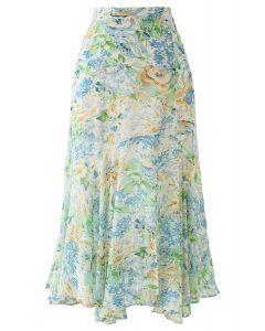 Abstract Rose Print Frilling Chiffon Midi Skirt in Green