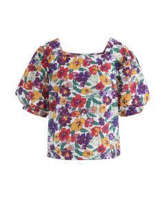 Square Neck Multi Blossom Eyelet Embroidered Top