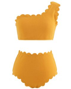 花邊單肩比基尼套裝--橙色