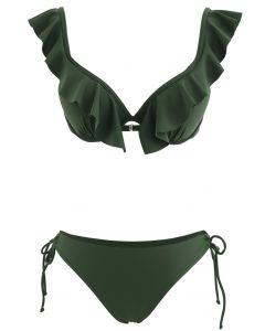 Ruffle Strap Tie Side High Leg Bikini Set