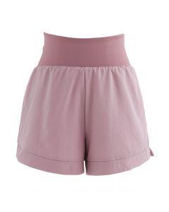Crisscross Waist Sports Shorts in Dusty Pink
