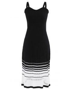 Striped Mesh Spliced Hem Knit Cami Dress in Black