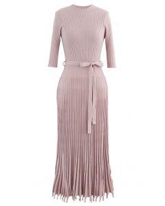 Mock Neck Fringed Hem Ribbed Knit Midi Dress in Pink