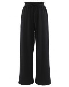 Drawstring Paper-Bag Waist Ribbed Yoga Pants in Black