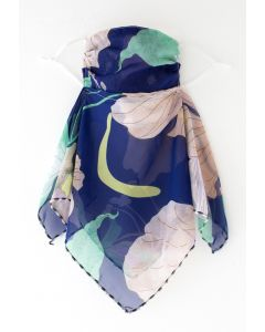 Floral Print Chiffon Sun Protection For The Face in Navy
