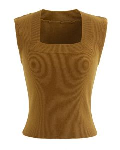 Square Neck Sleeveless Ribbed Knit Top in Caramel