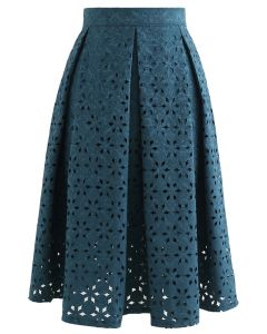 雪花鏤空提花半身裙 - 藍綠色
