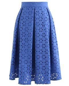 雪花鏤空提花半身裙 - 寶藍色