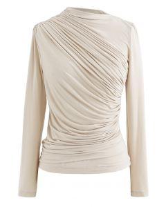 長袖褶飾上衣--米色