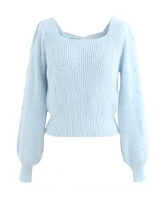 Bowknot Back Square Neck Knit Sweater in Baby Blue