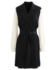 Contrast Color Double-Breasted Chiffon Trench Coat in Black