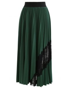 Lace Inserted Pleated Maxi Skirt in Green