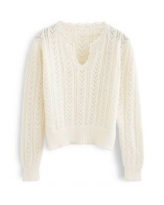 V-Neck Hollow Out Soft Touch Knit Sweater in Cream