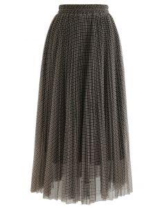 Gingham Double-Layered Pleated Mesh Midi Skirt in Khaki