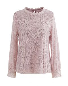 Floret Full Lace Long Sleeves Top in Pink