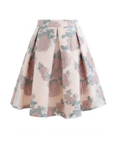 Blooming Rose Jacquard Organza Pleated Skirt