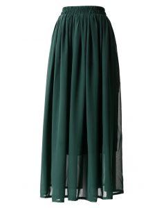 深綠色鬆緊腰身褶皺長裙