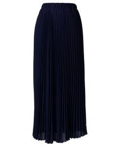 Chiffon Navy Blue Pleated Maxi Skirt