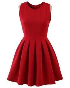 Favored Sleeveless Skater Dress in Red